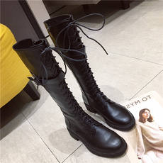 2018 new long boots Europe and America belt buckle cross strap zipper round head with boots women's boots Martin boots