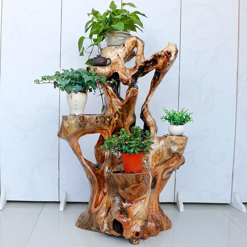 根雕花架天然树根阳台盆景架实木自然原木花架子酸枣木落地置物架