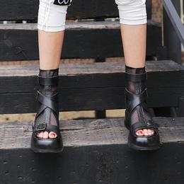 欧洲站个性网纱凉鞋女增高鞋厚底松糕底镂空鱼嘴网状真皮女鞋短靴