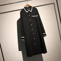 哦呀苏米 简约风撞色翻领衬衣女秋装长款宽松大码长袖雪纺衬衫裙