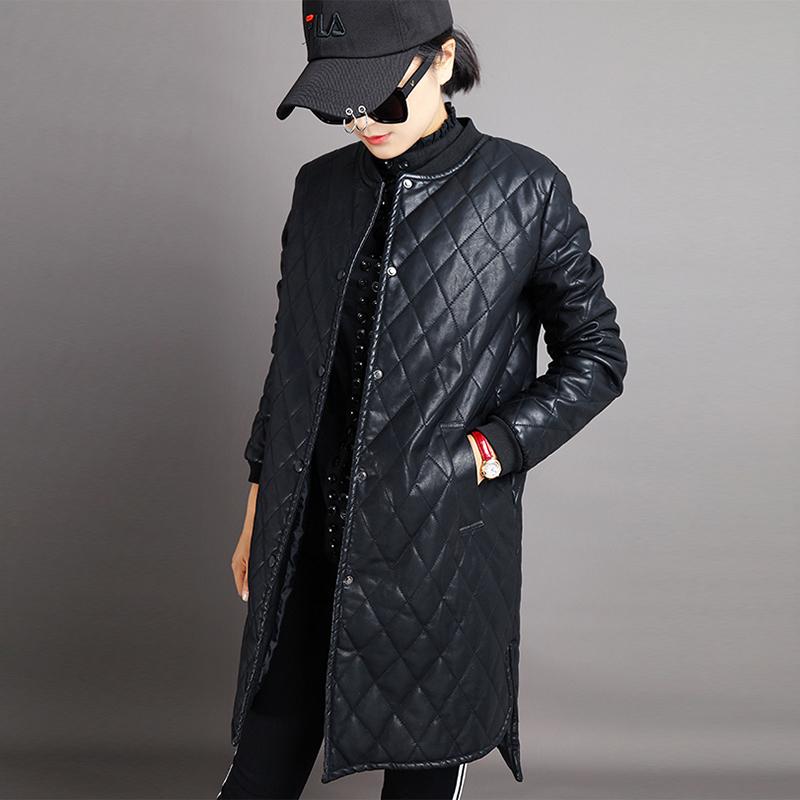 韩版圆领皮衣女士2018冬新款加厚中长款外套大码宽pu松棉服绵衣
