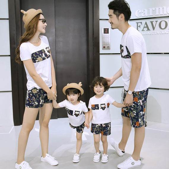 Parent-child loaded summer 2018 new wave spring kindergarten a family of three full-family mother and daughter family suit
