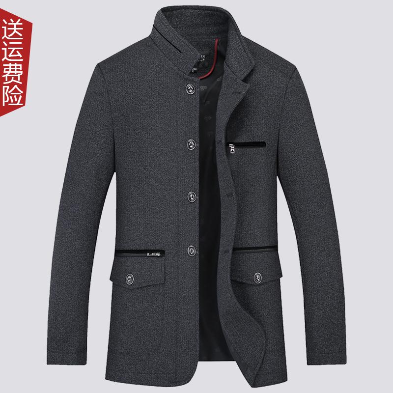 特价清仓春秋中老年男士外套褂子商务休闲薄款中年爸爸装加厚夹克