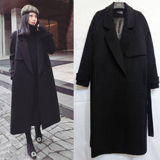Black lace woolen coat female 2018 winter new Korean thickened long section over the knee was thin woolen coat