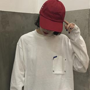 2018秋季新款长袖T恤倒置口袋纯色简约百搭圆领潮牌港风BF风薄款