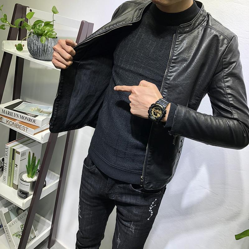 经典百搭立领皮衣加绒加厚潮男秋冬新韩版修身夹克社会人网红外套