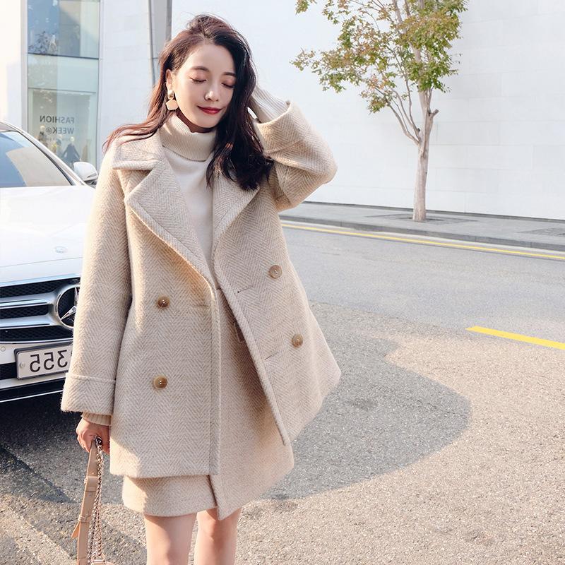 很仙的两件套秋冬女套装2019小个子外套羊绒中长款人字纹毛呢裙