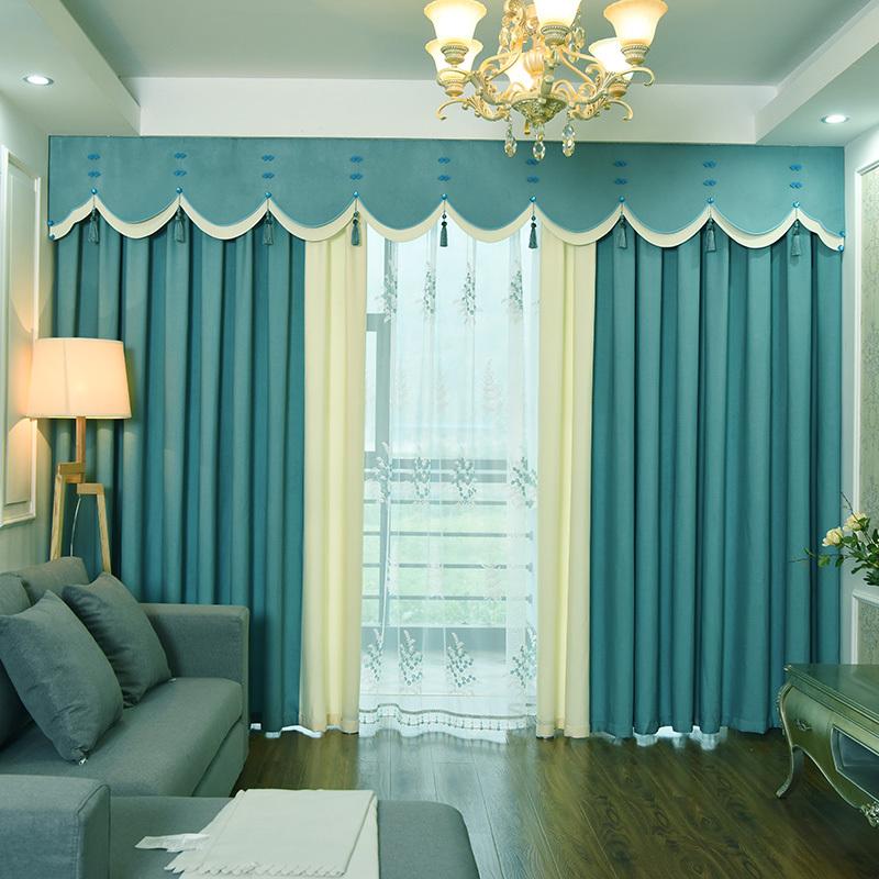 新中式窗帘帘头现代简约纯色客厅卧室短帘飘窗北欧风田园帘幔定制图片