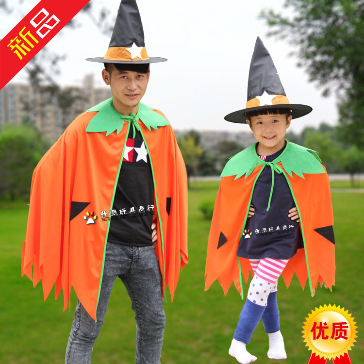 万圣节南瓜披风 **化妆舞会表演出服饰 儿童南瓜服装亲子装衣服