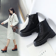 2018 winter new thick bottom high shoes warm cotton shoes short boots Martin boots female matte bright leather student net red