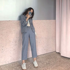 FFAN generalized simple matching ramie light color blazer / cropped trousers / skirt three-piece suit