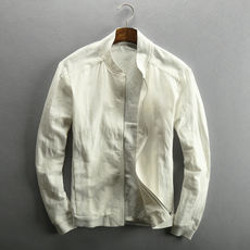 Zipper baseball collar breathable linen jacket men's casual linen short section slim thin jacket cotton jacket male