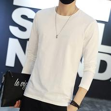 Autumn men's long-sleeved T-shirt solid color white round bottoming shirt thin section white large size loose compassionate 9.9 yuan