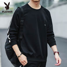 Playboy sweater men's round neck Korean version of the spring and autumn models new white spring long-sleeved t-shirt sports clothes