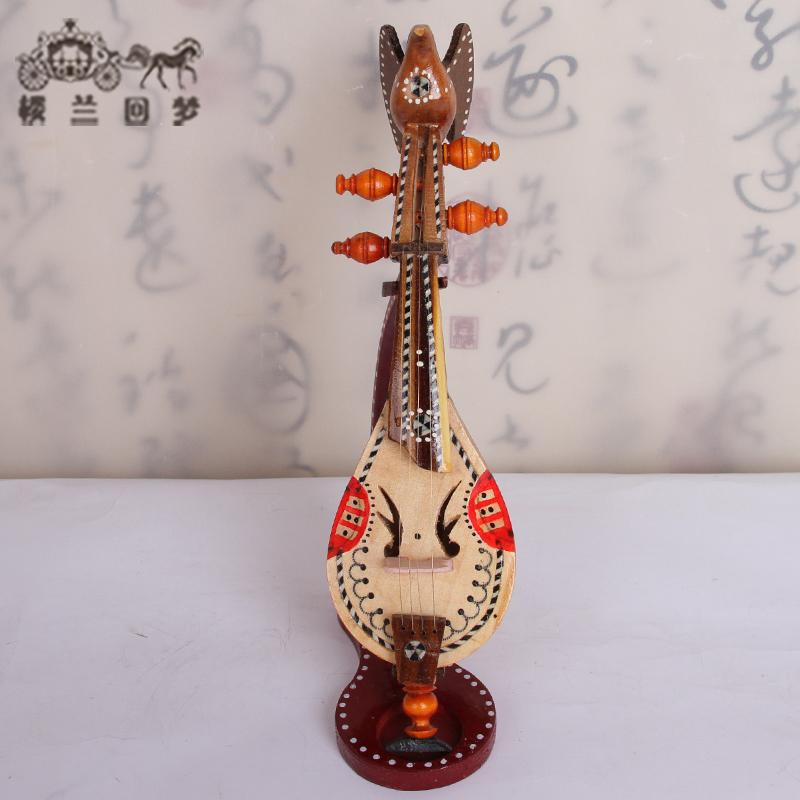 新疆少数民族特色工艺品摆件维吾尔族纯手工乐器模型胡西塔尔摆件