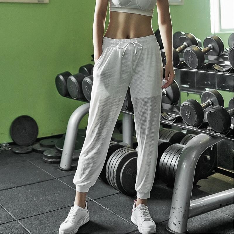 健身裤弹力速干薄款网眼宽松运动长裤大码跑步瑜伽收口九分女春夏