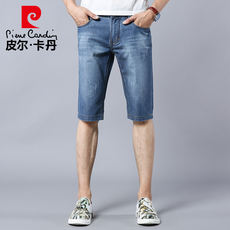 Pierre Cardin denim shorts men's summer slim straight light color casual wash 2018 new men's five pants