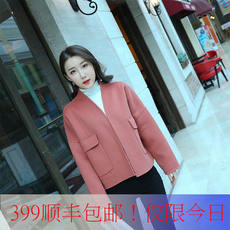 European station 2017 autumn and winter double-faced coat female short paragraph loose OVERSIZE wool jacket pure handmade