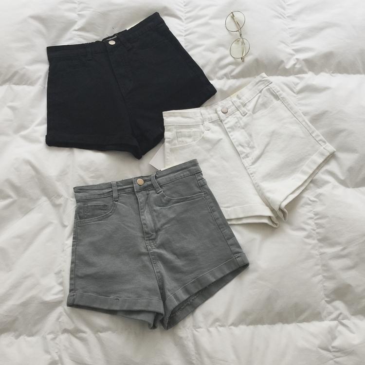 免邮 SPG 2018春夏 实用好搭/显瘦/纯色复古高腰卷边牛仔短裤女