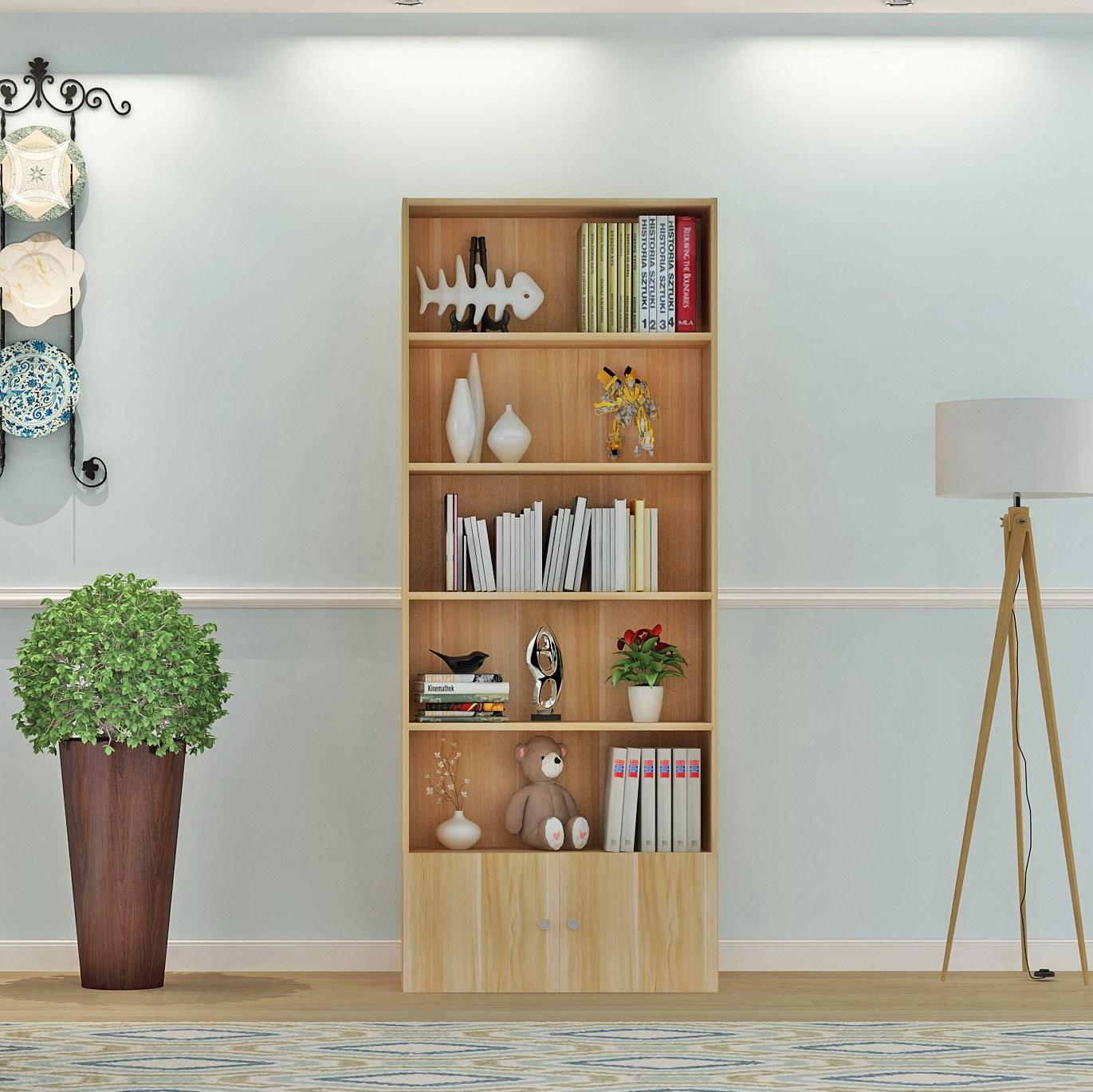 新品书柜书架置物架学生儿童组合落地储物柜简易带门小书现代简约
