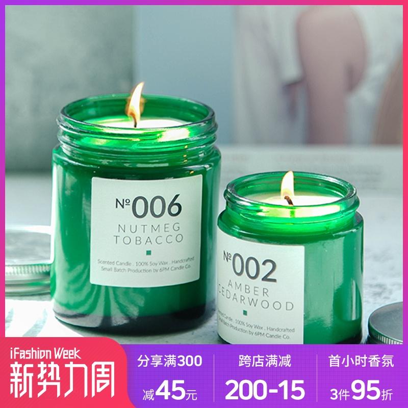 6PM Candle Co.室内助眠 P.F.香薰蜡烛创意手工小萤火绿瓶浪漫香