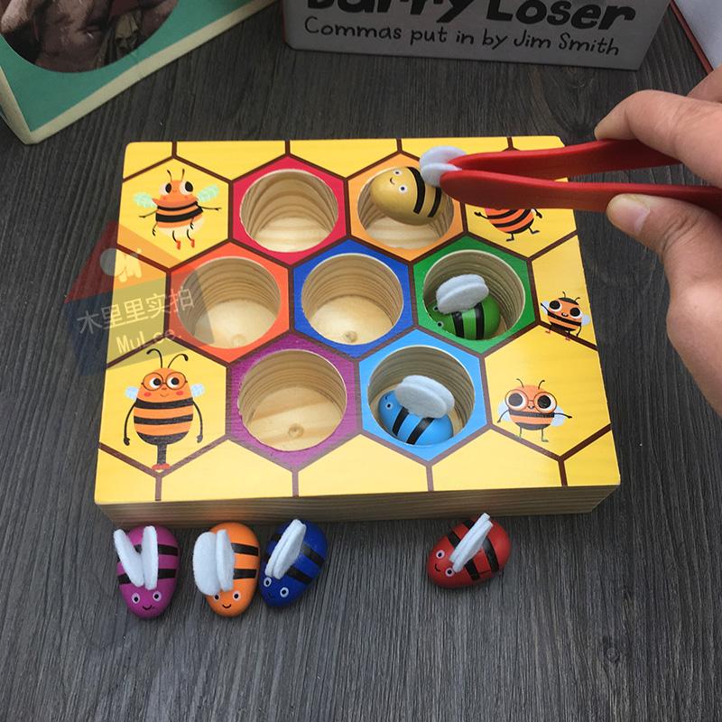 幼儿园早教蜜蜂益智玩具蚊子木制宝宝认知分类配对去除儿童夹蜂箱墙上颜色屎怎么游戏图片