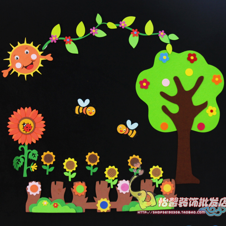 小学教室布置班级环境 泡沫大树太阳花组合树形黑板报图片