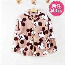 Autumn and winter children's smock flannel can be set cotton zipper down jacket anti-dirty clothing men and women baby cotton coat