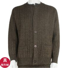 Autumn and winter men's yak wool sweater thick large size middle-aged round neck cardigan warm sweater dad knit jacket