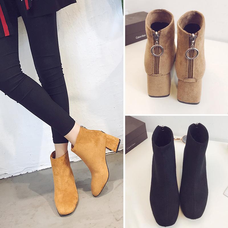 英伦绒面马丁靴女高跟鞋2018新款时尚方头后拉链粗跟百搭短靴裸靴
