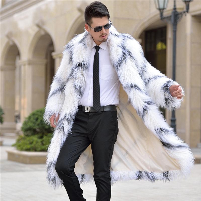 欧美范儿仿皮草男大衣风衣 羊毛皮草外套 时尚大衣长款毛毛男外套