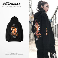 Original autumn INS with the European and American oversize men and women graffiti sweater hip hop tide brand loose hooded jacket