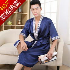 Nightgown Men's Summer Short Sleeve Silk Thin Pajamas Siamese Spring and Autumn Long Summer Silk Bath Rope Ice Silk Tracksuit