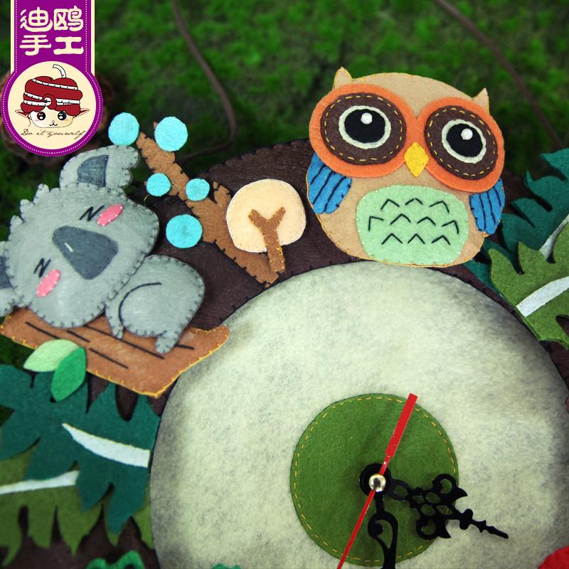新年不织布手工diy制作布艺儿童材料包钟表时钟挂钟客厅 创意迪鸥