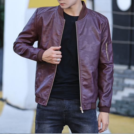 2018 autumn and winter clothing new men's leather jacket fashion casual Korean version of the self-cultivation trend leather jacket male
