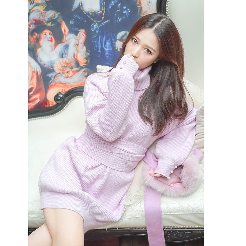 poshepose冬季新款毛衣女宽松加厚高领套头打底毛线衣短款针织衫