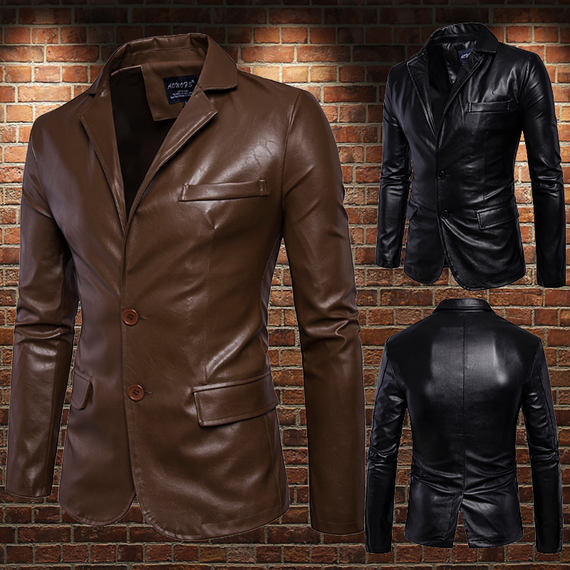 Business casual suit collar two buckle PU leather suit men after work split fork suit leather jacket leather jacket male