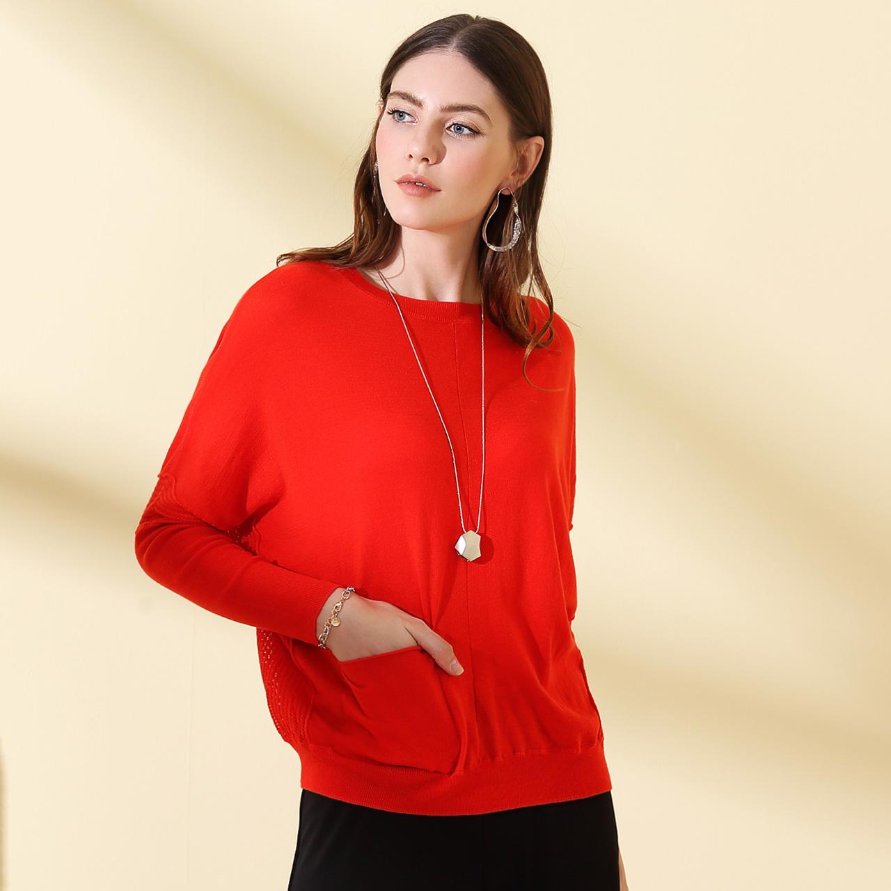 沐兰MORELINE春季纯色蝙蝠袖针织衫长袖套头毛衫女1545801