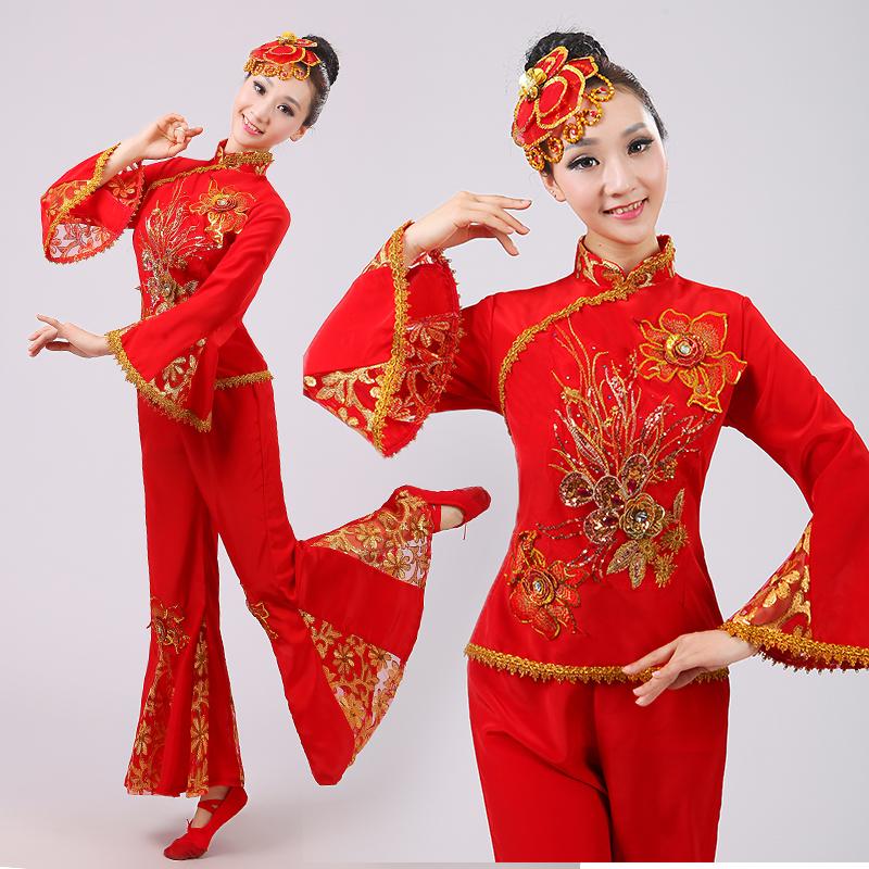 秧歌服演出服2017新款民族广场舞表演服中老年腰鼓扇子舞蹈服装女