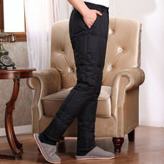 Middle-aged and old down pants for men and women wear plus fertilizer XL high waist thick warm winter jacket liner long cotton pants