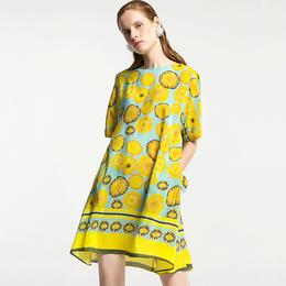 裙子夏季2018新款女欧美风高端夏印花桑蚕丝连衣裙真丝宽松腰中袖
