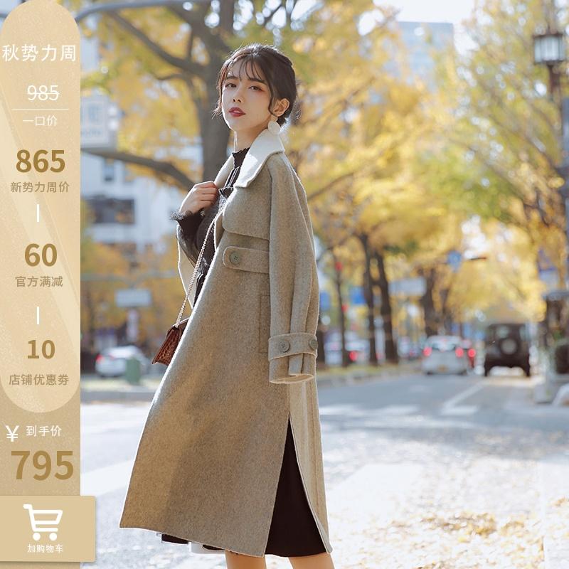 JZ匠子赫本大衣女2019新款秋冬设计感小众中长款小个子双面呢外套