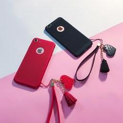 简约镂空iphone7手机壳挂绳苹果6plus散热透气6s全包5s红新款潮女