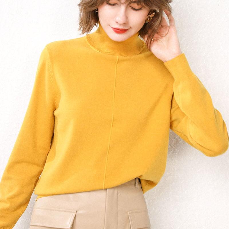 秋冬羊绒女堆堆高领修身羊毛针织衫打底套头纯色长袖大码宽松毛衣