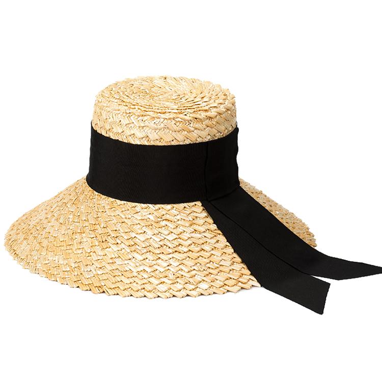 欧美复古手工编织蝴蝶结飘带麦秆草大檐盆帽沙滩防晒遮阳草帽