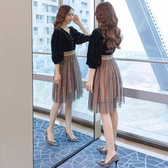 金丝绒连衣裙女春秋2019新款女装春装性感很仙的网纱仙女裙子夏装