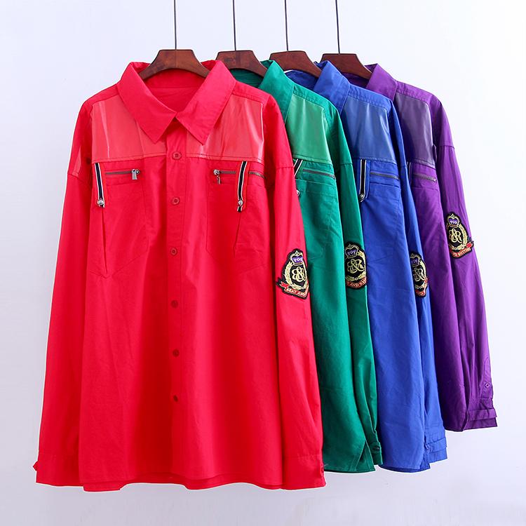 大码男装新款韩版四时尚款衬衫酷帅上衣拉链款潮流款休闲装