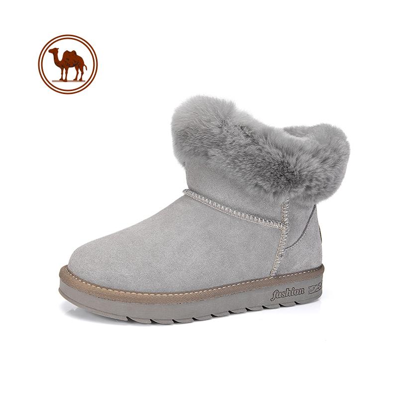骆驼牌冬季休闲马丁靴平底女鞋低跟中筒圆头套筒厚底胶粘鞋靴子