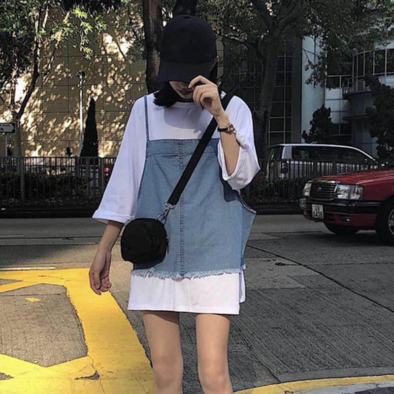 春装套装女气质2019新款韩版洋气T恤上衣+牛仔吊带背心时尚两件套,免费领取10元淘宝优惠卷