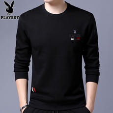 Playboy spring men's t-shirt long-sleeved thin section round neck sweater Korean men's printing printing compassionate shirt tide